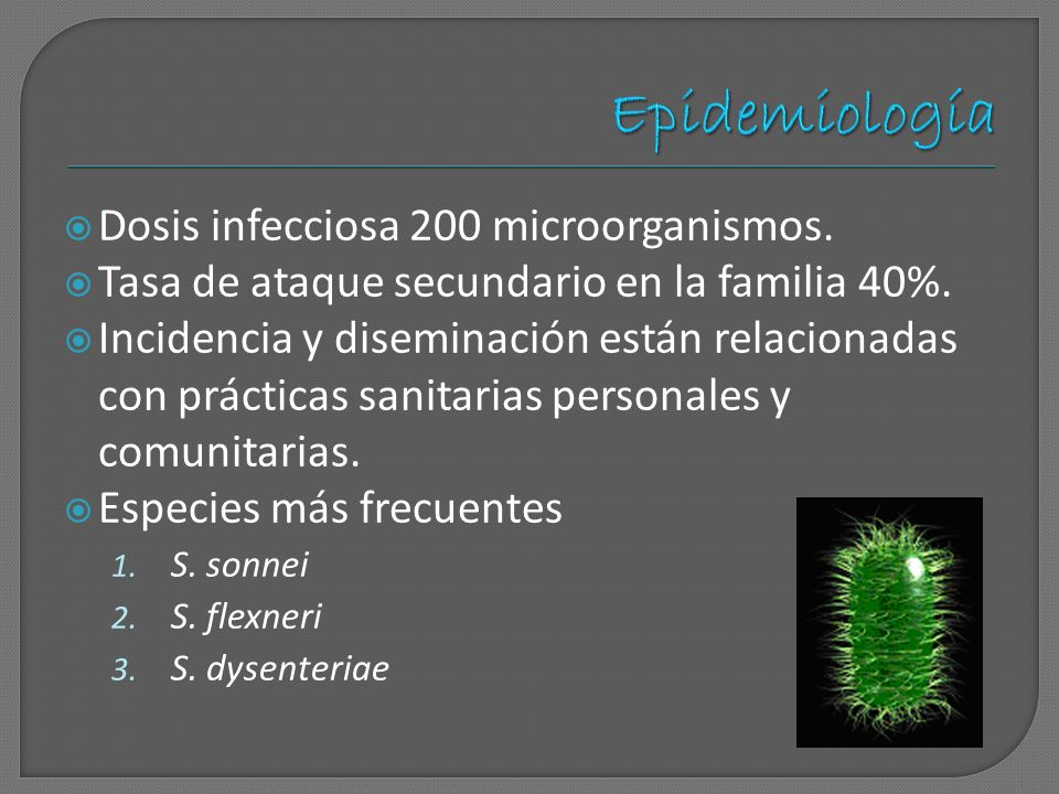 Epidemiología Dosis infecciosa 200 microorganismos.