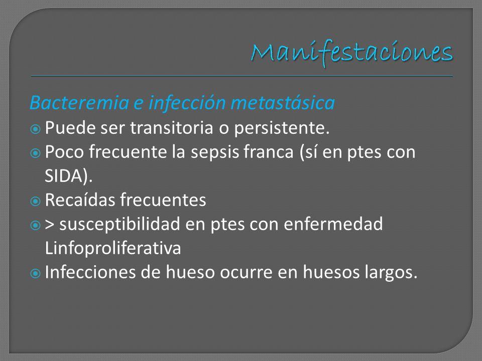 Manifestaciones Bacteremia e infección metastásica