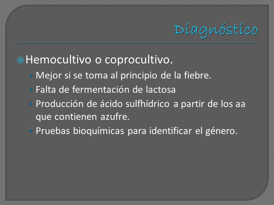 Diagnóstico Hemocultivo o coprocultivo.