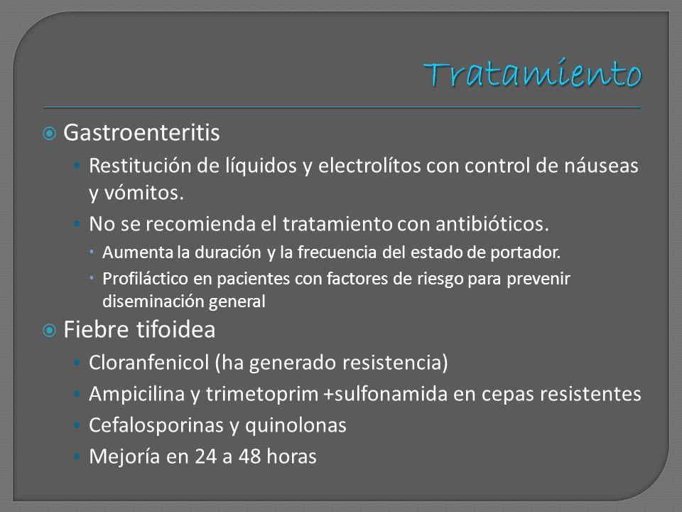 Tratamiento Gastroenteritis Fiebre tifoidea