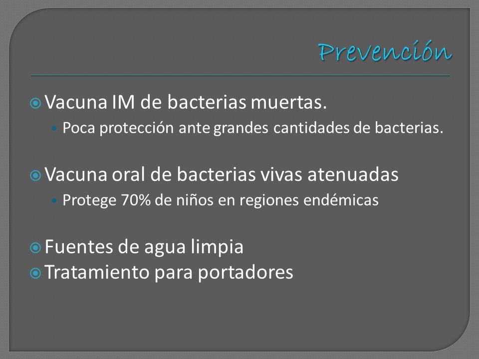 Prevención Vacuna IM de bacterias muertas.