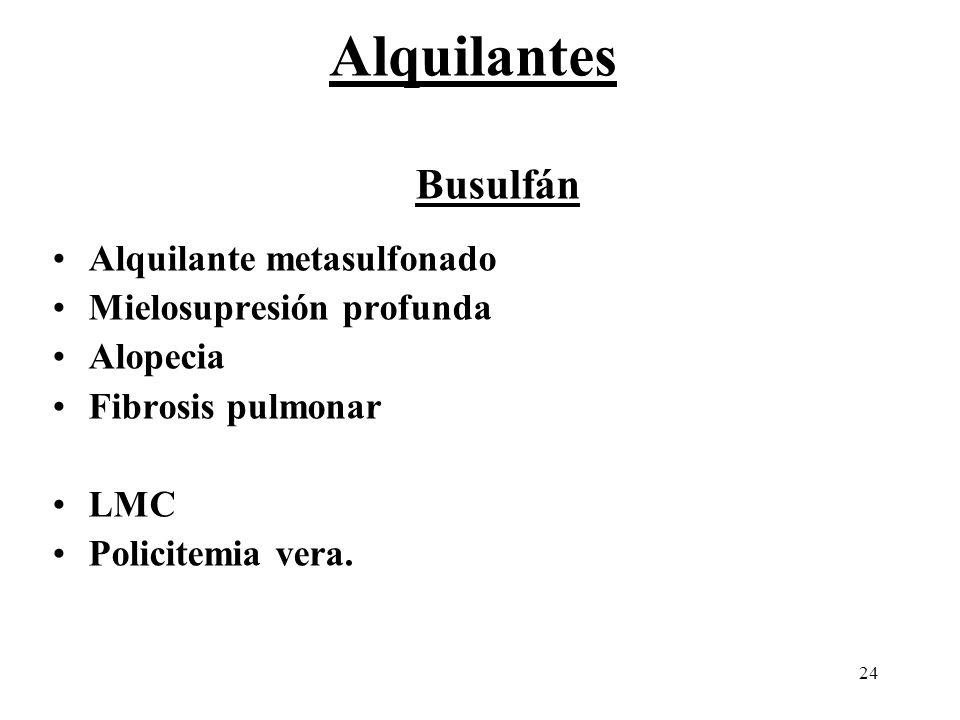 Alquilantes Busulfán Alquilante metasulfonado Mielosupresión profunda