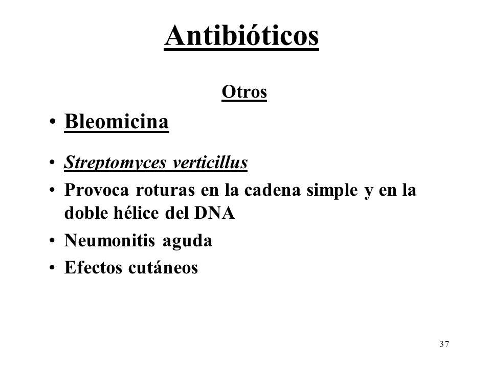 Antibióticos Bleomicina Otros Streptomyces verticillus