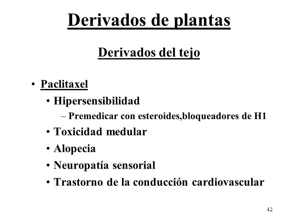 Derivados de plantas Derivados del tejo Paclitaxel Hipersensibilidad