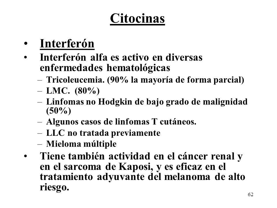 Citocinas Interferón. Interferón alfa es activo en diversas enfermedades hematológicas. Tricoleucemia. (90% la mayoría de forma parcial)