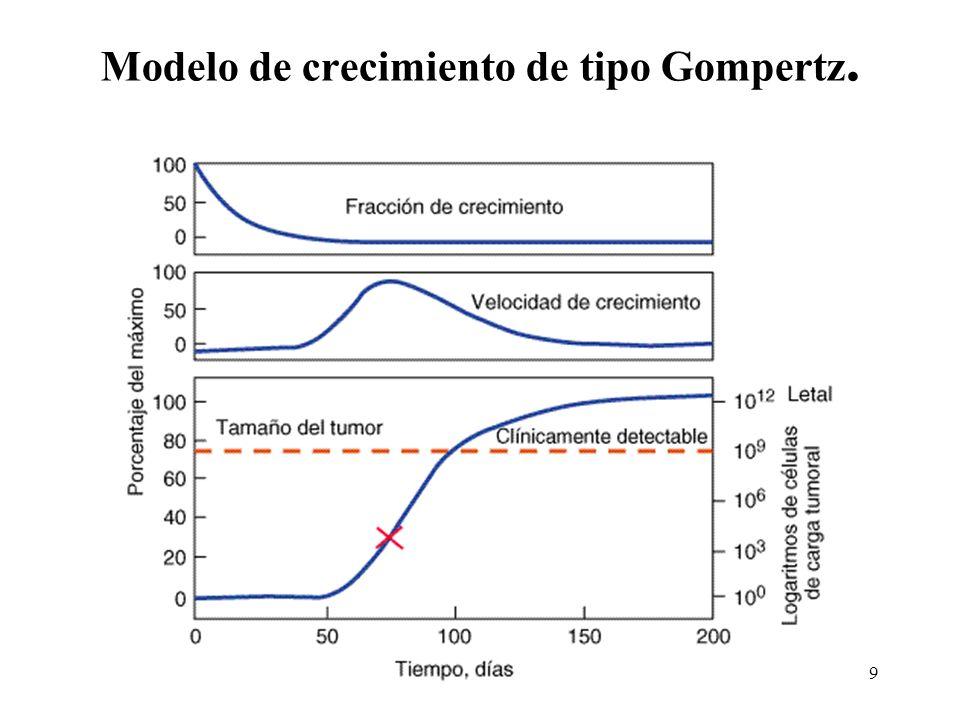 Modelo de crecimiento de tipo Gompertz.