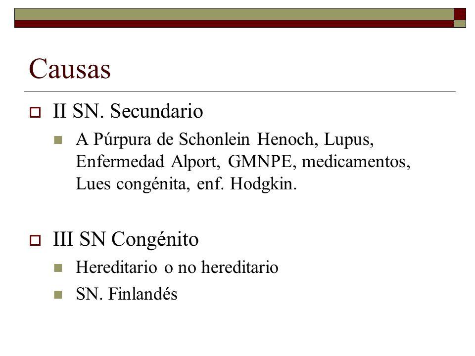 Causas II SN. Secundario III SN Congénito