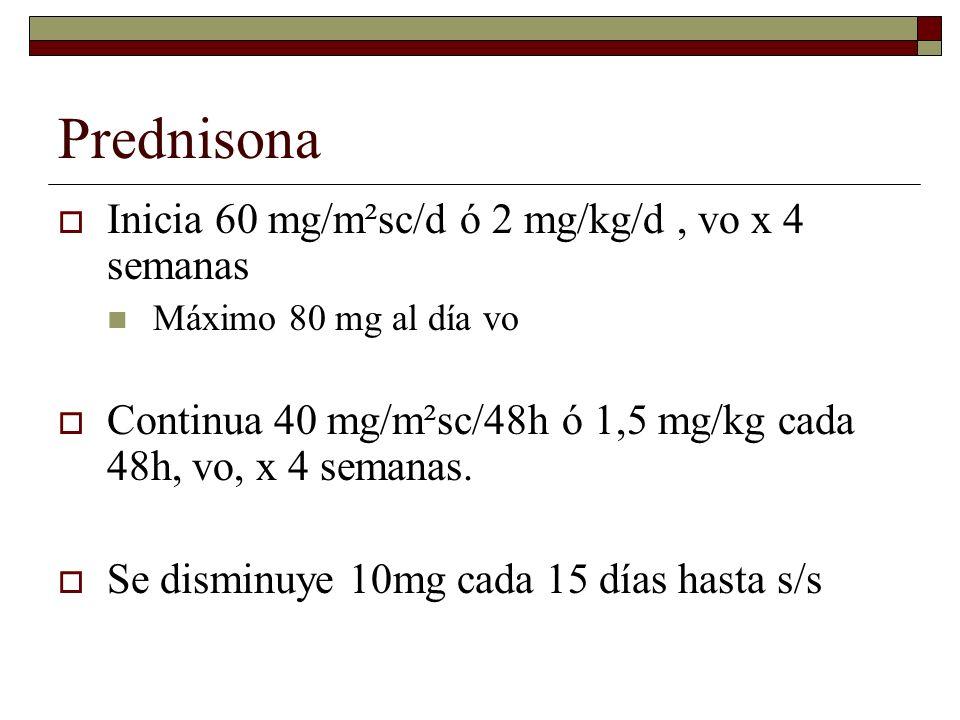 Prednisona Inicia 60 mg/m²sc/d ó 2 mg/kg/d , vo x 4 semanas