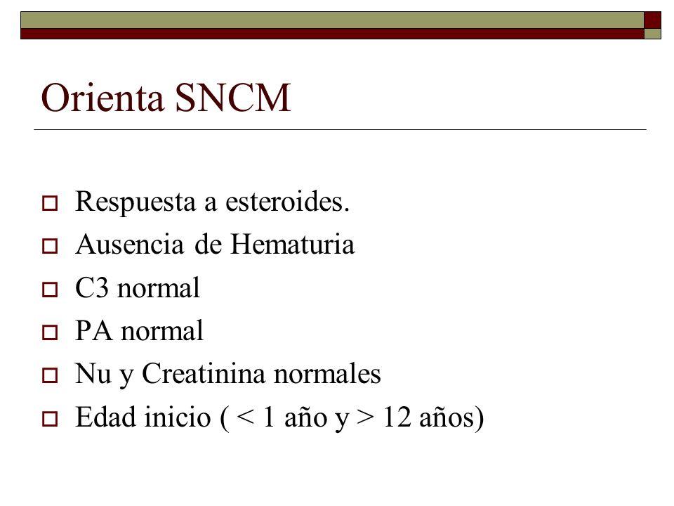 Orienta SNCM Respuesta a esteroides. Ausencia de Hematuria C3 normal