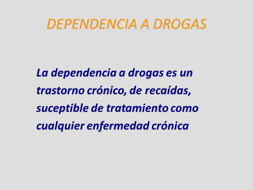 DEPENDENCIA A DROGAS La dependencia a drogas es un