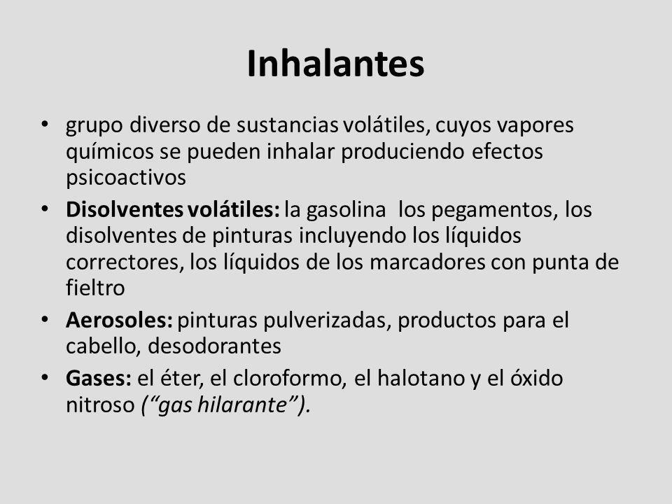 Inhalantes grupo diverso de sustancias volátiles, cuyos vapores químicos se pueden inhalar produciendo efectos psicoactivos.