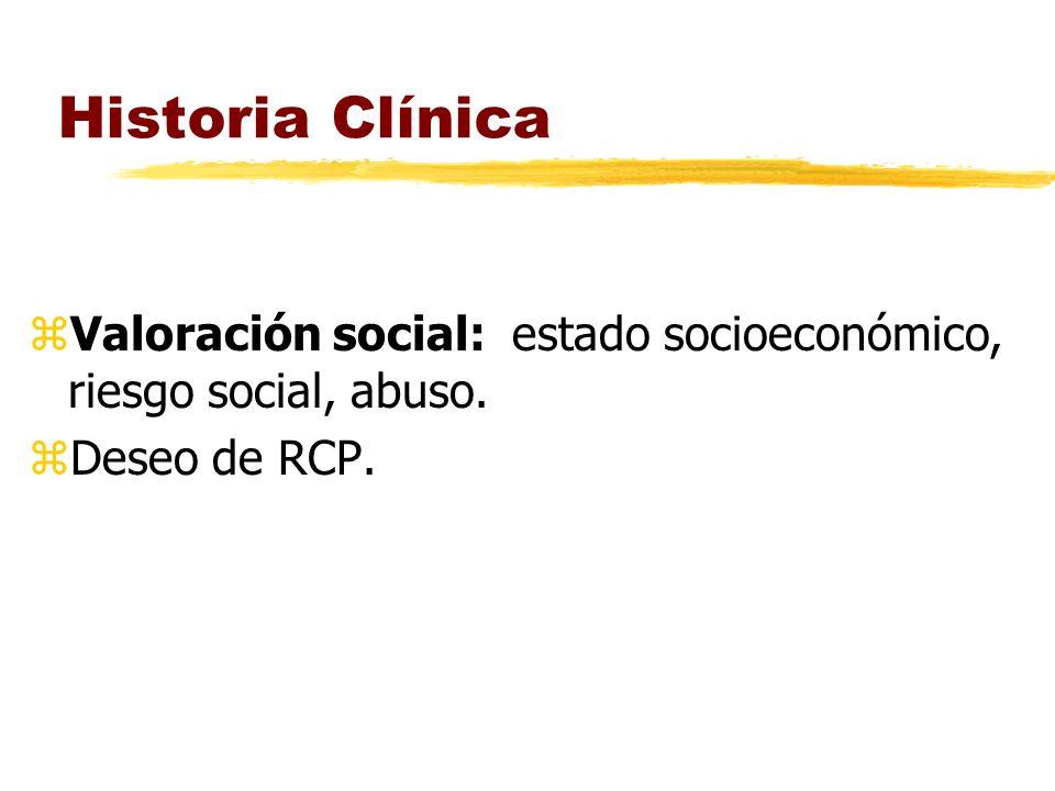 Historia Clínica Valoración social: estado socioeconómico, riesgo social, abuso. Deseo de RCP.