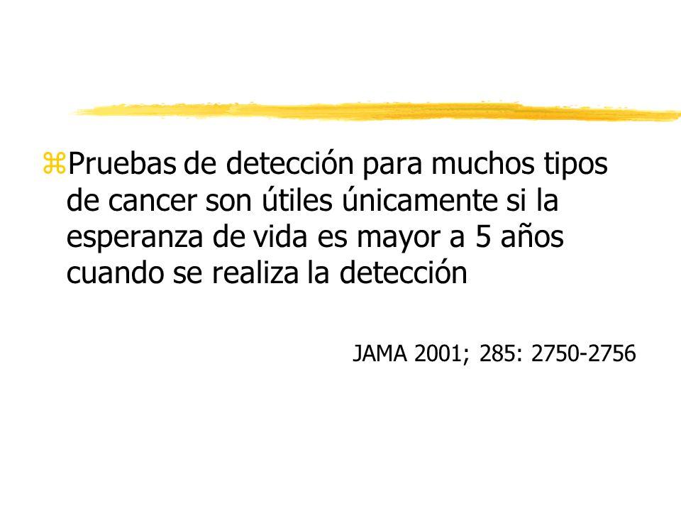 Pruebas de detección para muchos tipos de cancer son útiles únicamente si la esperanza de vida es mayor a 5 años cuando se realiza la detección