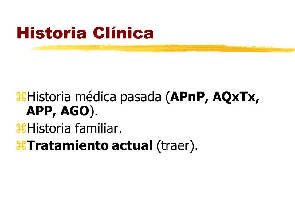 Historia Clínica Historia médica pasada (APnP, AQxTx, APP, AGO).