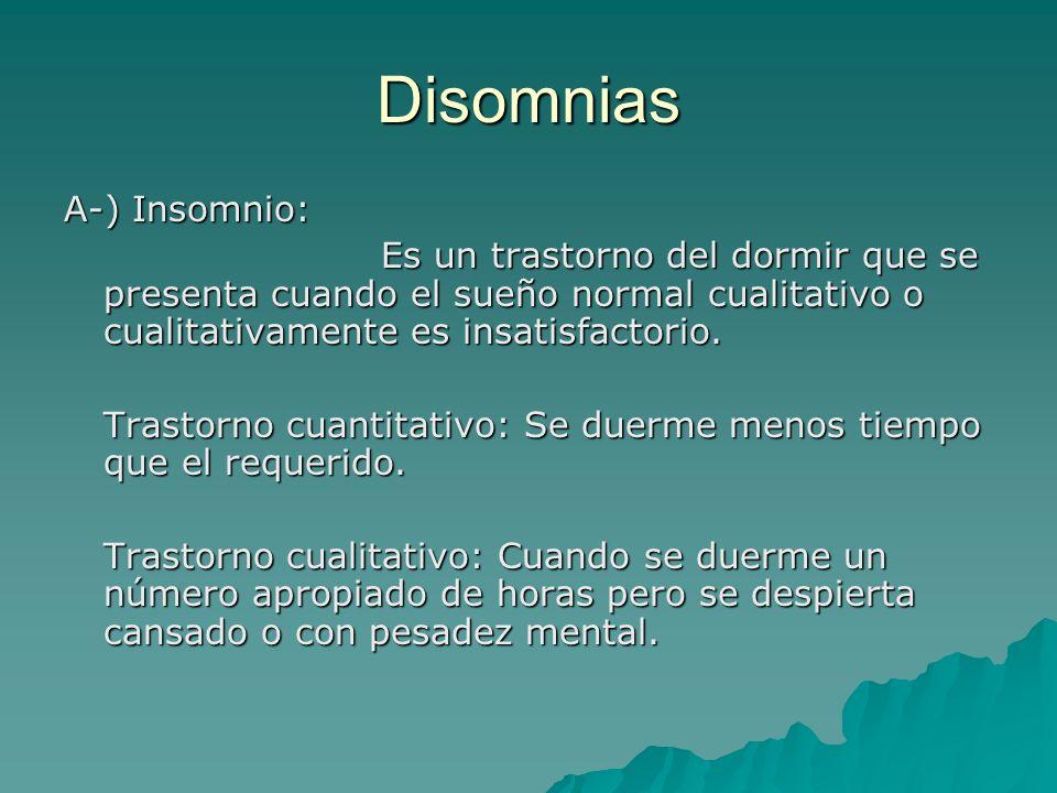 Disomnias A-) Insomnio: