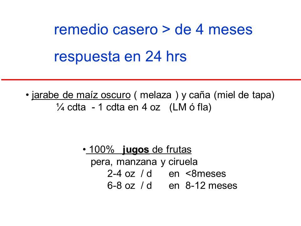 remedio casero > de 4 meses respuesta en 24 hrs