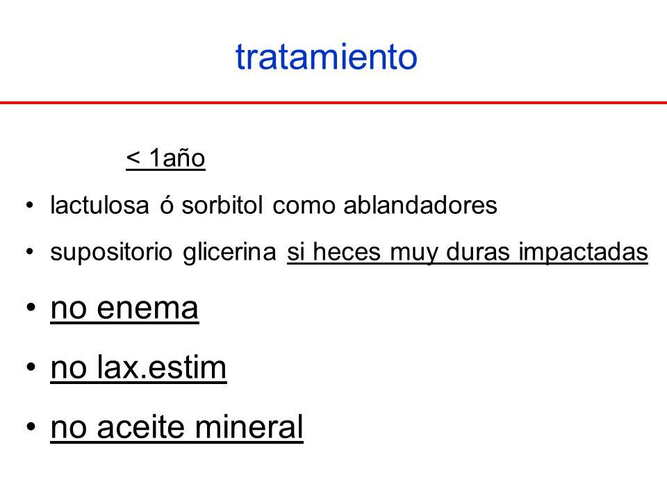 tratamiento no enema no lax.estim no aceite mineral < 1año