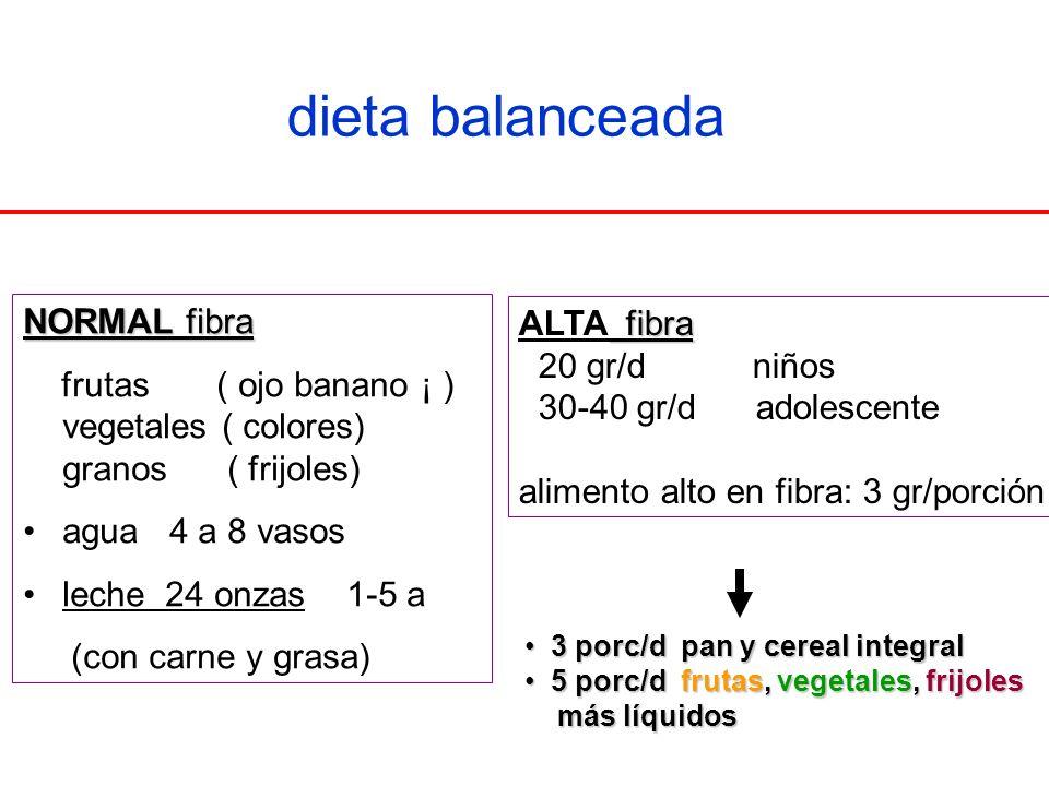 dieta balanceada NORMAL fibra ALTA fibra
