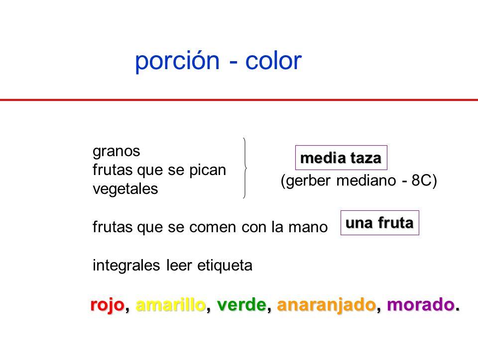 porción - color rojo, amarillo, verde, anaranjado, morado. granos