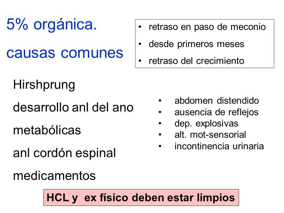 5% orgánica. causas comunes Hirshprung desarrollo anl del ano