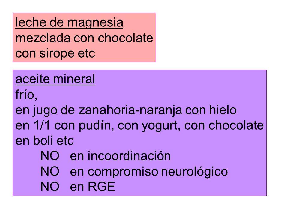leche de magnesia mezclada con chocolate. con sirope etc. aceite mineral. frío, en jugo de zanahoria-naranja con hielo.