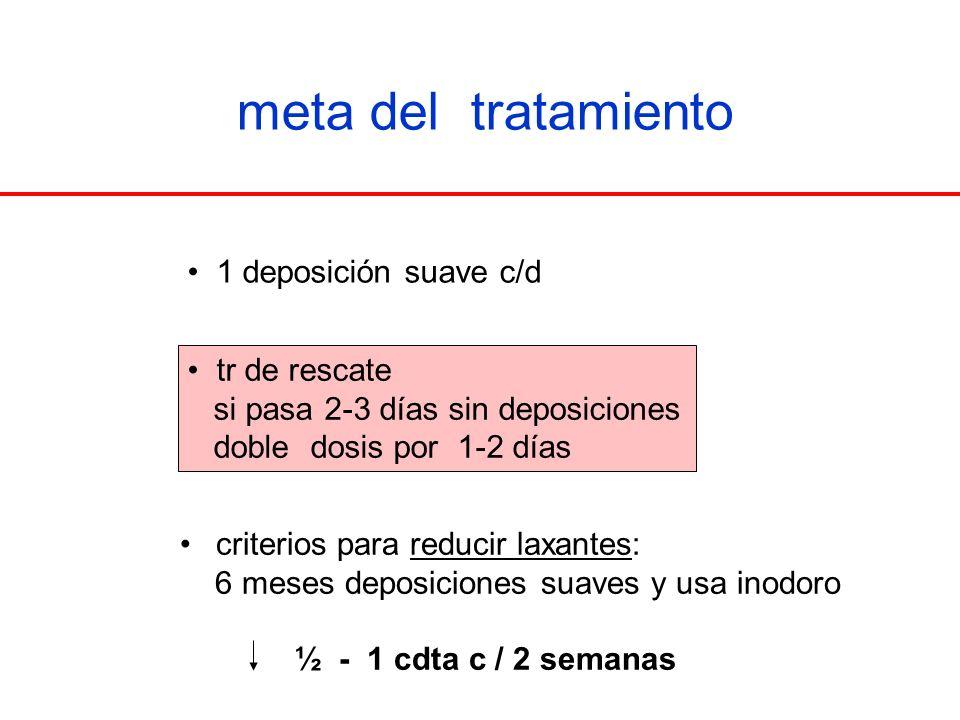 meta del tratamiento 1 deposición suave c/d tr de rescate