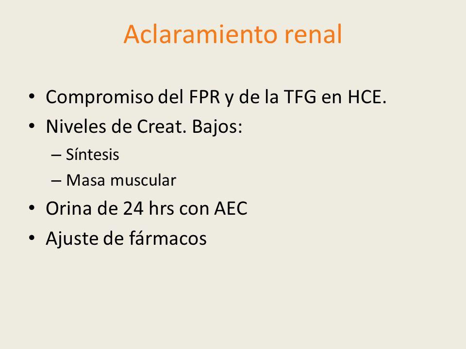 Aclaramiento renal Compromiso del FPR y de la TFG en HCE.