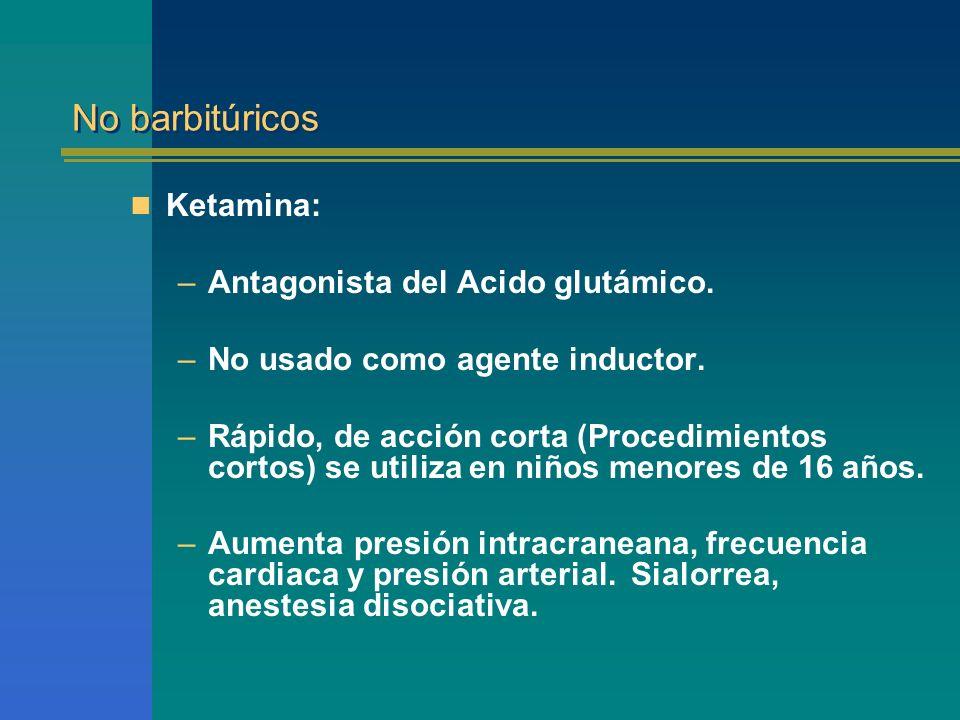 No barbitúricos Ketamina: Antagonista del Acido glutámico.