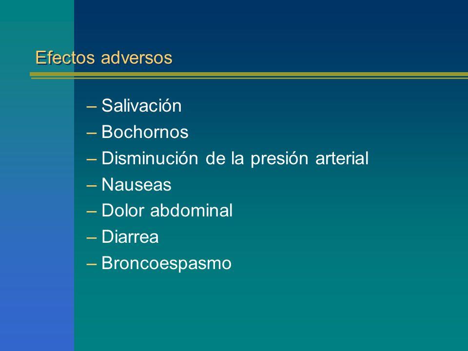 Efectos adversos Salivación. Bochornos. Disminución de la presión arterial. Nauseas. Dolor abdominal.