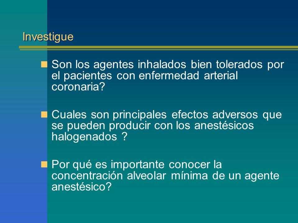 Investigue Son los agentes inhalados bien tolerados por el pacientes con enfermedad arterial coronaria