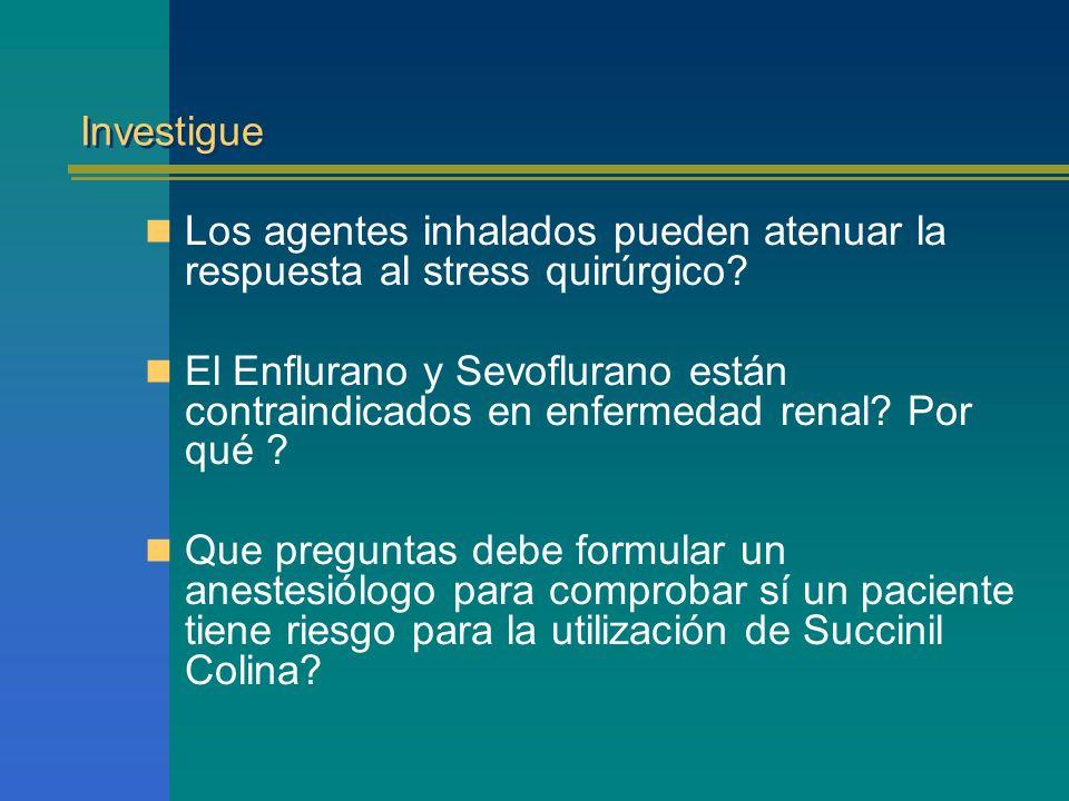 Investigue Los agentes inhalados pueden atenuar la respuesta al stress quirúrgico