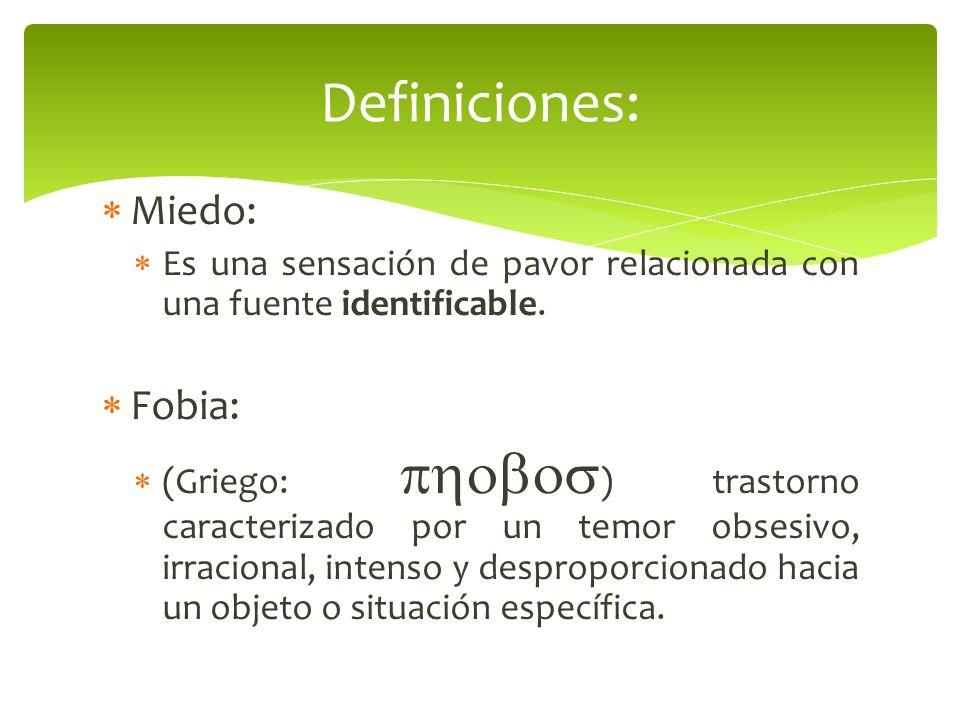 Definiciones: Miedo: Fobia: