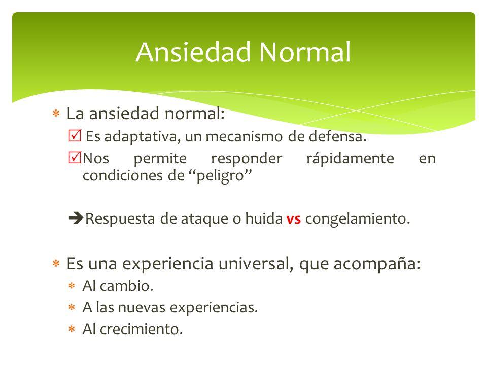 Ansiedad Normal La ansiedad normal: