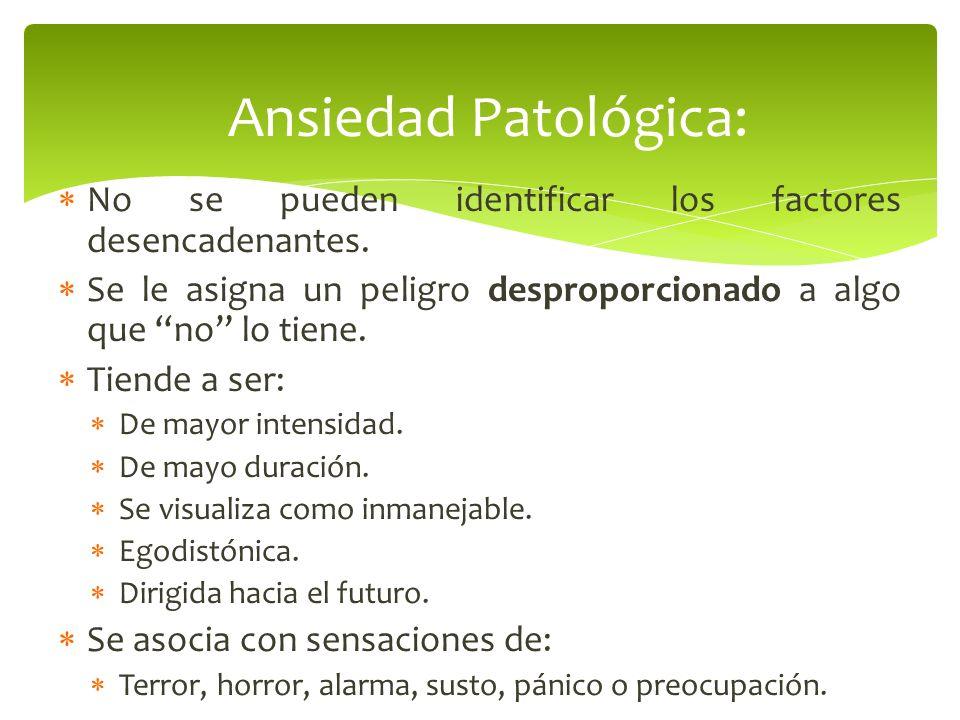 Ansiedad Patológica: No se pueden identificar los factores desencadenantes. Se le asigna un peligro desproporcionado a algo que no lo tiene.