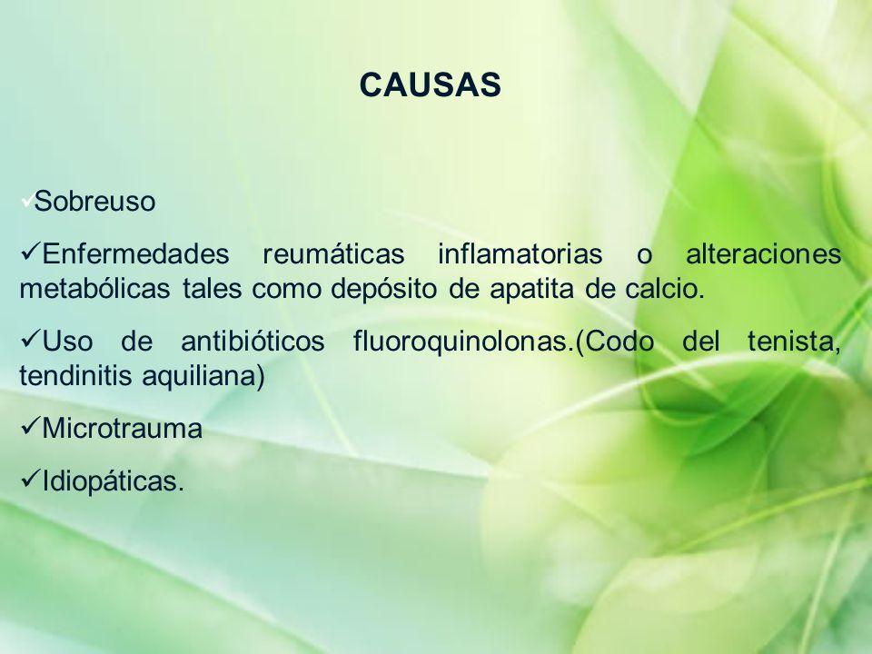 CAUSAS Sobreuso. Enfermedades reumáticas inflamatorias o alteraciones metabólicas tales como depósito de apatita de calcio.