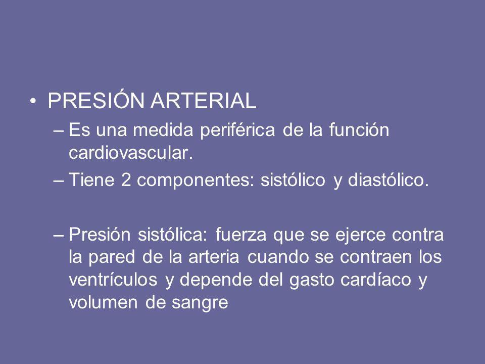 PRESIÓN ARTERIAL Es una medida periférica de la función cardiovascular. Tiene 2 componentes: sistólico y diastólico.