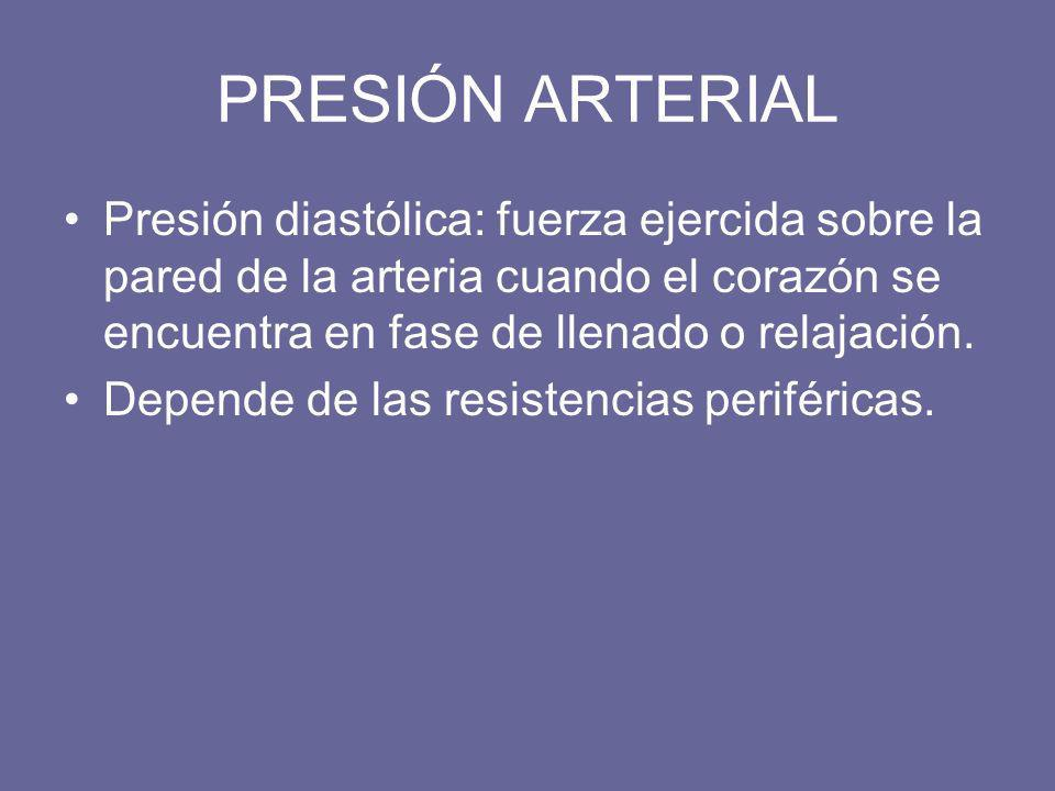 PRESIÓN ARTERIAL Presión diastólica: fuerza ejercida sobre la pared de la arteria cuando el corazón se encuentra en fase de llenado o relajación.