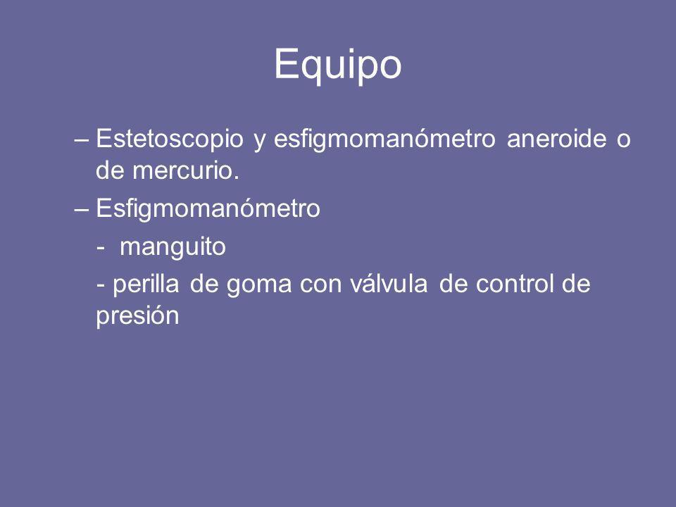Equipo Estetoscopio y esfigmomanómetro aneroide o de mercurio.