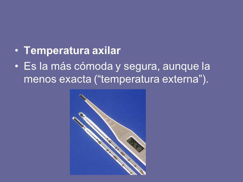 Temperatura axilar Es la más cómoda y segura, aunque la menos exacta ( temperatura externa ).