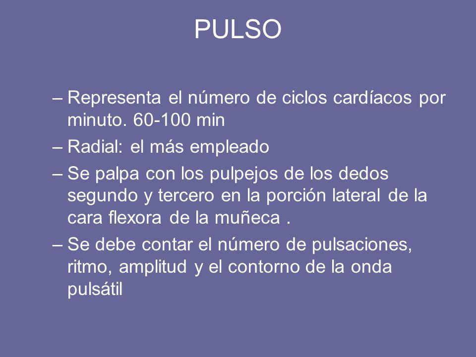 PULSO Representa el número de ciclos cardíacos por minuto. 60-100 min