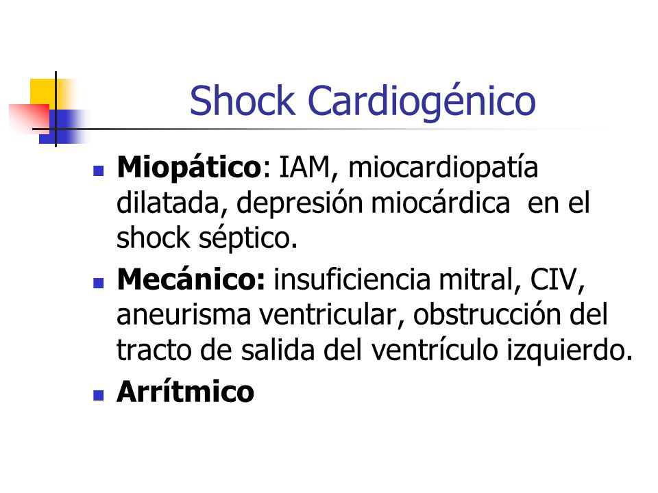 Shock Cardiogénico Miopático: IAM, miocardiopatía dilatada, depresión miocárdica en el shock séptico.
