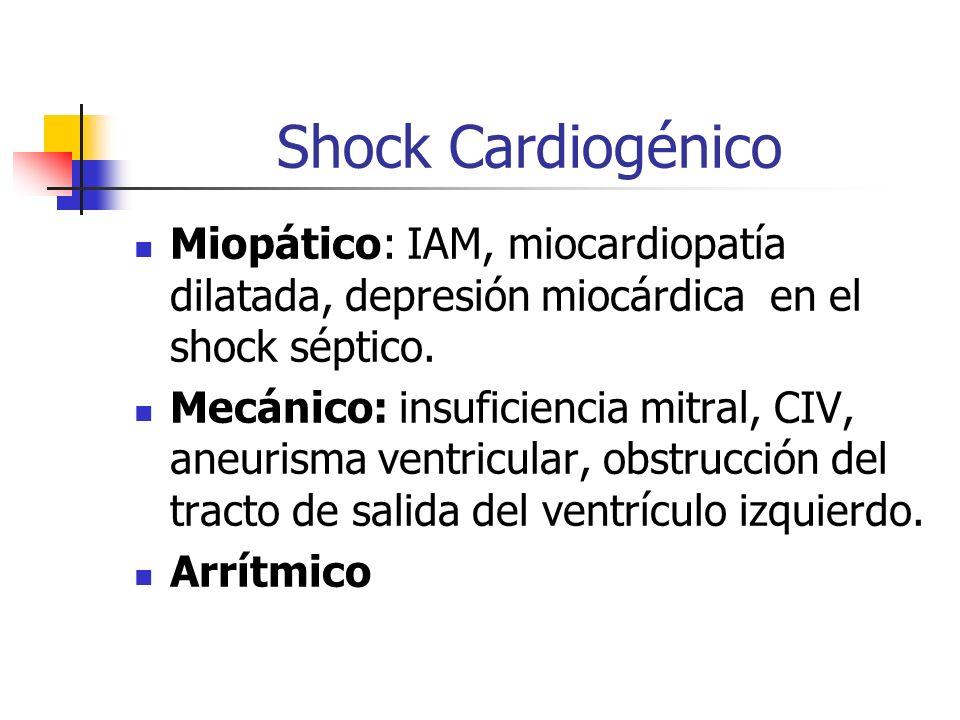 Shock CardiogénicoMiopático: IAM, miocardiopatía dilatada, depresión miocárdica en el shock séptico.