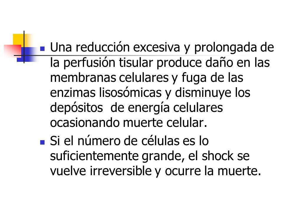 Una reducción excesiva y prolongada de la perfusión tisular produce daño en las membranas celulares y fuga de las enzimas lisosómicas y disminuye los depósitos de energía celulares ocasionando muerte celular.