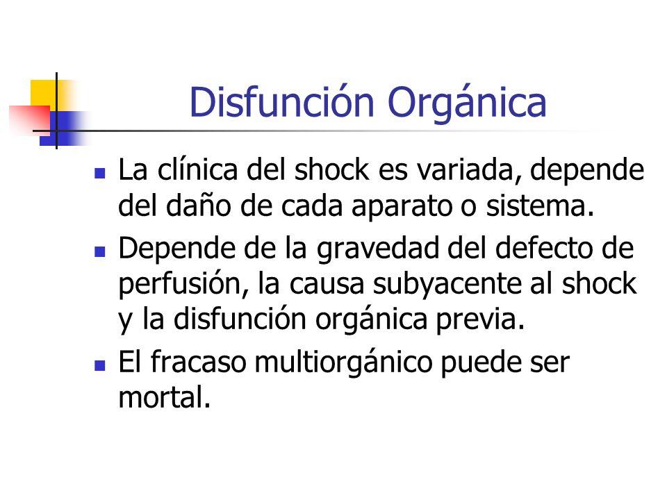 Disfunción Orgánica La clínica del shock es variada, depende del daño de cada aparato o sistema.