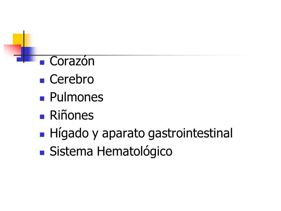 Corazón Cerebro Pulmones Riñones Hígado y aparato gastrointestinal Sistema Hematológico