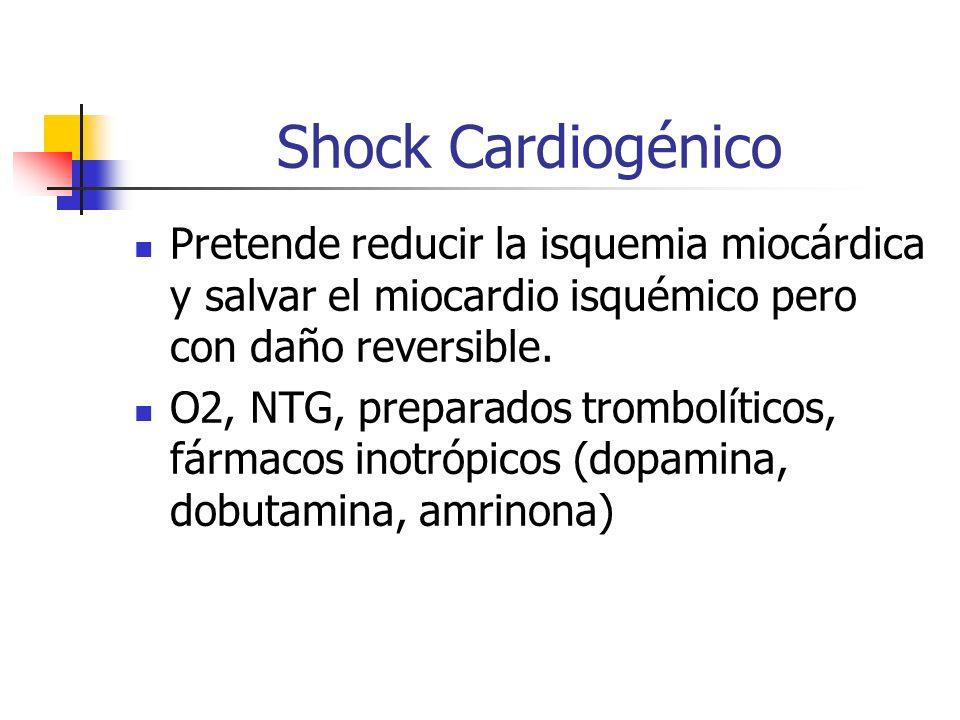 Shock Cardiogénico Pretende reducir la isquemia miocárdica y salvar el miocardio isquémico pero con daño reversible.