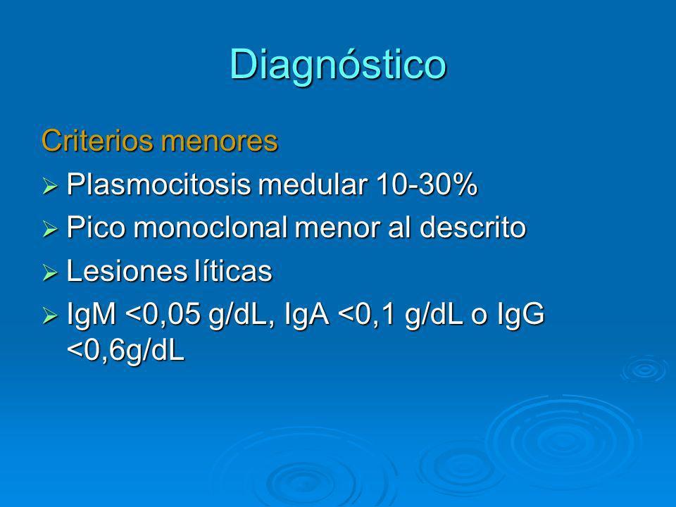 Diagnóstico Criterios menores Plasmocitosis medular 10-30%