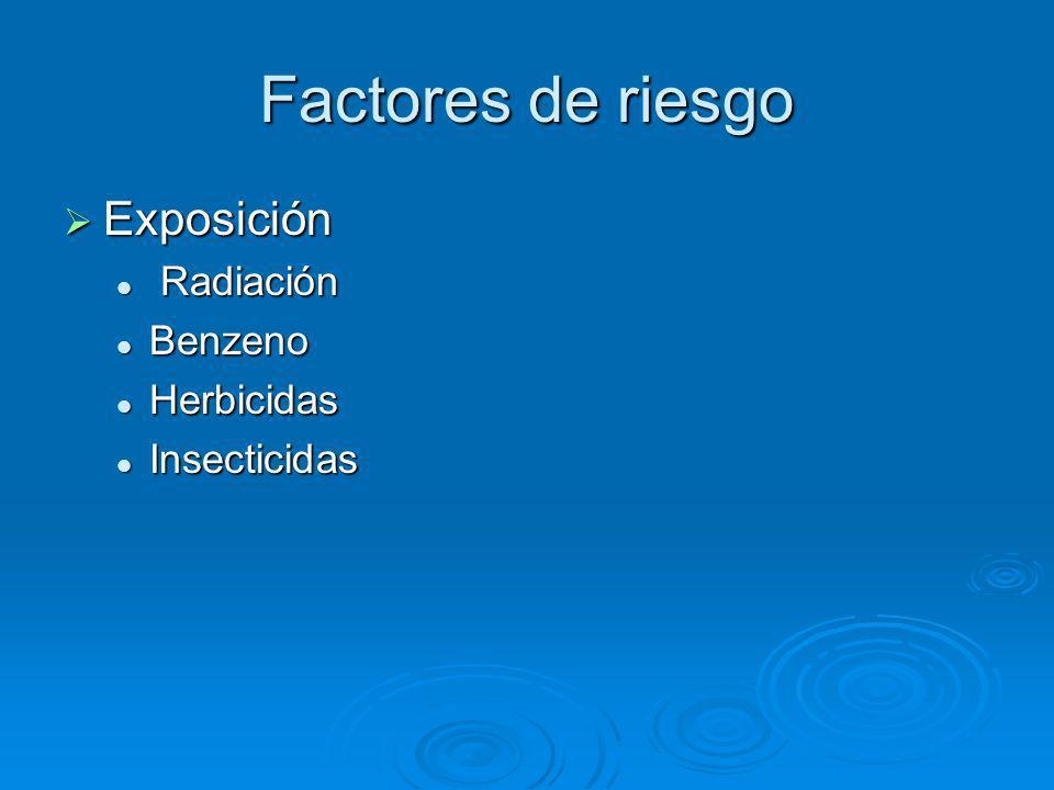 Factores de riesgo Exposición Radiación Benzeno Herbicidas