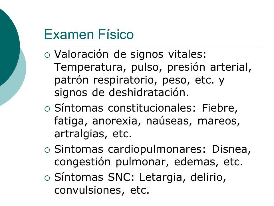 Examen Físico Valoración de signos vitales: Temperatura, pulso, presión arterial, patrón respiratorio, peso, etc. y signos de deshidratación.