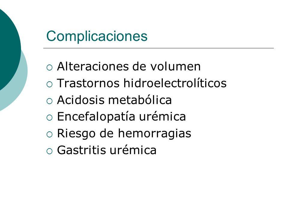 Complicaciones Alteraciones de volumen Trastornos hidroelectrolíticos